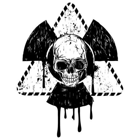 Signe de radioactivité triangulaire noir et blanc de Vector illustration et crâne abstrait grunge