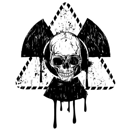 Vector illustration black and white triangular radioactivity sign and abstract grunge skull