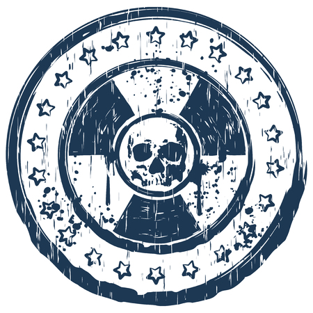 toxicity: Vector illustration blue dirty round stamp with abstract grunge skull on radiation sign and stars Illustration