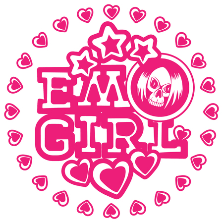 Vector illustration pink inscription emo girl with stars and hearts on white background and skull with hair. Design for print on t-shirt.