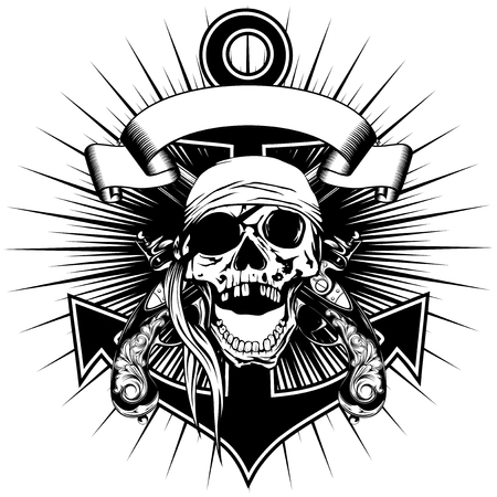 Vector illustration pirate sign skull bandana with crossed old pistols and anchor