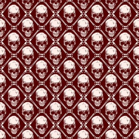 Abstract vector illustration pink and maroon skulls. Seamless background for print on fabric or t-shirt.