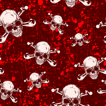 Abstract vector illustration colored skulls and bones on grunge backdrop. Seamless pattern for print on fabric or t-shirt. Çizim