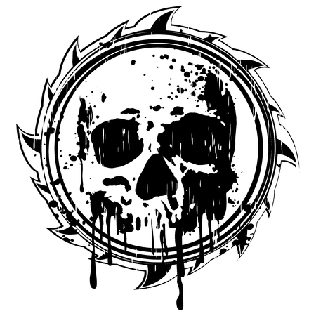 Vector illustration abstract grunge black sign to skull