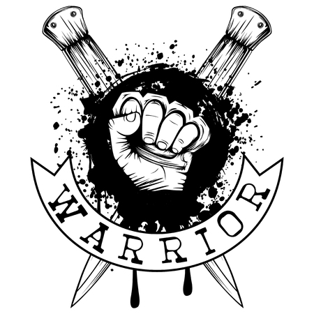 Vector illustration hand with brass knuckle on crossed knifes and grunge background. Inscription warrior. For tattoo or t-shirt design.