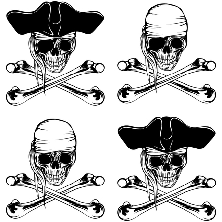 Vector illustration pirate skull with bandana and cocked hat and crossed bones set Illustration