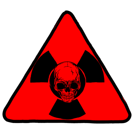 nuke: Vector illustration red triangle radiation sign and abstract grunge skull
