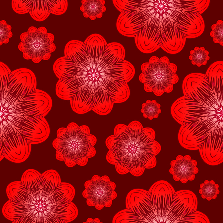 Vector illustration seamless red background with abstract flowers for print on textile or paper