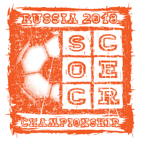 Abstract vector illustration scratched orange football ball and inscription soccer russia 2018 championship. Design for print on fabric or t-shirt.