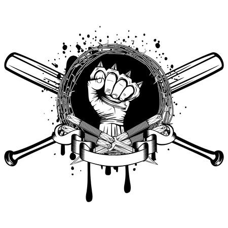 Vektor-Illustration zwei gekreuzte Dolche und Baseballschläger. Rahmen aus Stacheldraht und Hand mit Messingknöchel. Für Tätowierung oder T-Shirt Design. Vektorgrafik