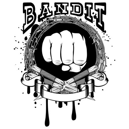 Vector illustration two crossed daggers. Frame of barbed wire and fist. Inscription bandit. For tattoo or t-shirt design. Illustration