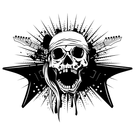 Vector illustration skull with open jaw in bandana and crossed guitars on grunge background. Hard rock design for t-shirt or tattoo