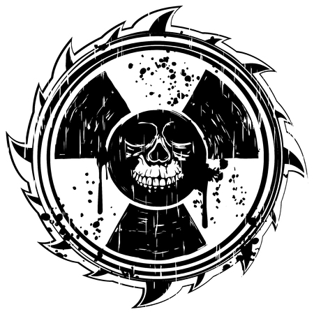 radioactivity danger logo: Abstract vector illustration grunge black skull and logo radiation