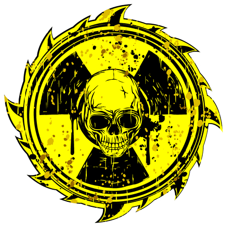 toxicity: Abstract vector illustration grunge yellow sign radiation to skull Illustration