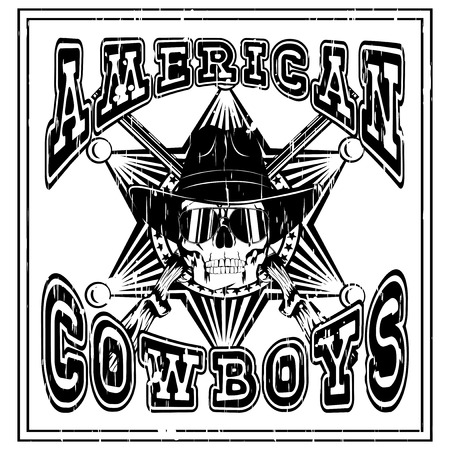 Vector illustration skull with sunglasses in cowboy hat and crossed rifles on sheriff star. Lettering american cowboys.