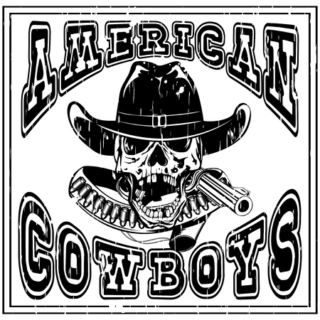 lawman: Vector illustration cowboy skull in hat and revolver with bullets. Lettering american cowboys.
