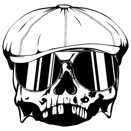 fight: Vector illustration skull in cap with sunglasses on white background. For t-shirt or tattoo design.