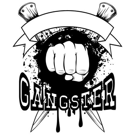 battle: Vector illustration fist on crossed knifes and grunge background. Inscription gangster. For tattoo or t-shirt design. Illustration