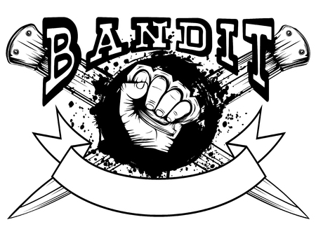 Vector illustration hand with brass knuckle on crossed knifes and grunge background. Inscription bandit. For tattoo or t-shirt design.