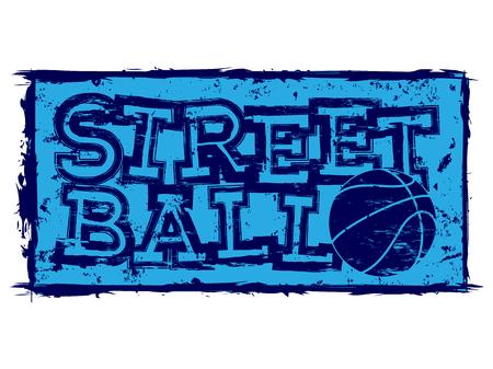 baller: Vector illustration blue inscription streetball with basketball ball for t-shirt design Illustration