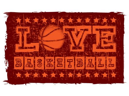 baller: Vector illustration black inscription love basketball on grunge background with basketball ball.