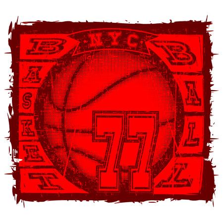baller: Vector illustration inscription basketball with basketball ball for t-shirt design Illustration
