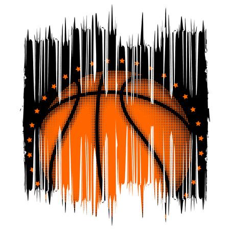 baller: Vector illustration basketball ball on grunge pattern for t-shirt design Illustration