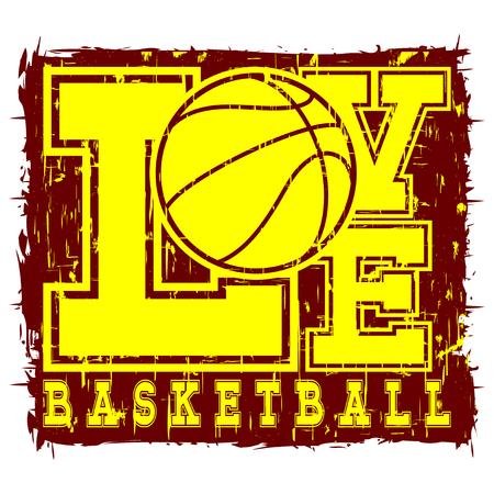 baller: Vector illustration yellow inscription love basketball on grunge background with basketball ball.