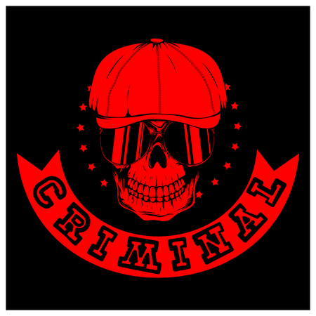 Vector illustration red skull in cap with sunglasses on black background. Inscription criminal. For tattoo or t-shirt design.