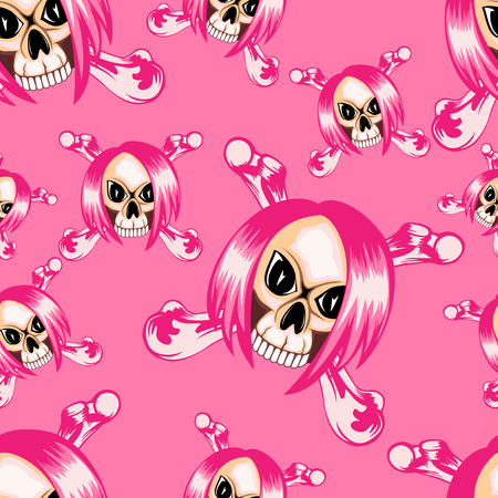 Vector illustration cartoon pink emo girl skull with hair and crossed bones on grunge background. Seamless background. For t-shirt design or print on textile.