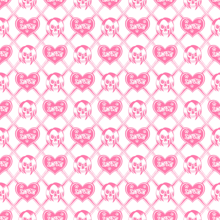 Vector illustration cartoon crossed bones and emo girl skull with hair. Hearts with inscription love and stars. Seamless pink background. For t-shirt design or print on textile. Illustration