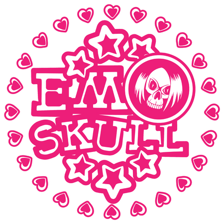 Vector illustration pink inscription emo skull with stars and hearts on white background and skull with hair. Design for print on t-shirt.