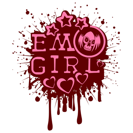 Vector illustration pink inscription emo girl with stars and hearts on grunge background and skull with hair. Design for print on t-shirt.