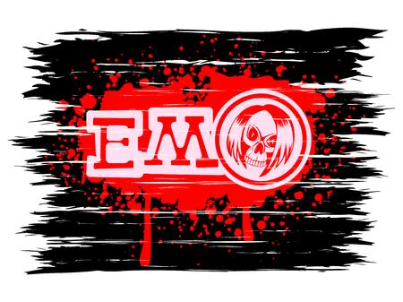 Vector illustration inscription emo and skull with hair on grunge background. Design for print on t-shirt. Illustration