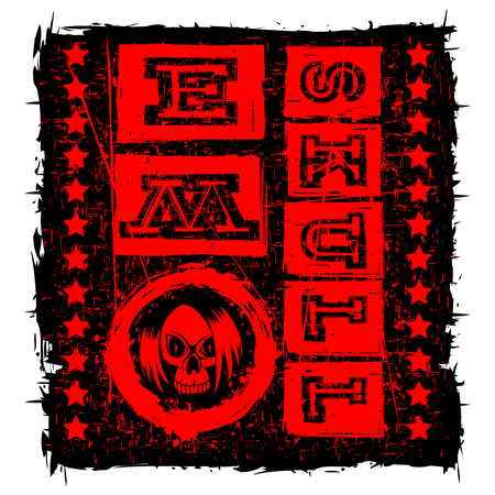 subculture: Vector illustration red shabby inscription emo skull with stars on black grunge background and skull with hair. Design for print on t-shirt or textile.