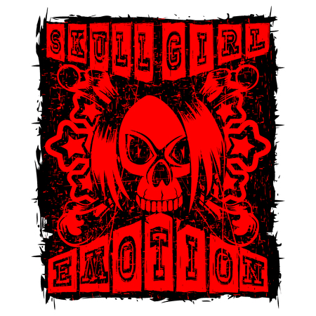 Vector illustration red and black inscription skull girl emotion with stars and crossed bones on grunge background and emo skull with hair. Design for print on t-shirt.