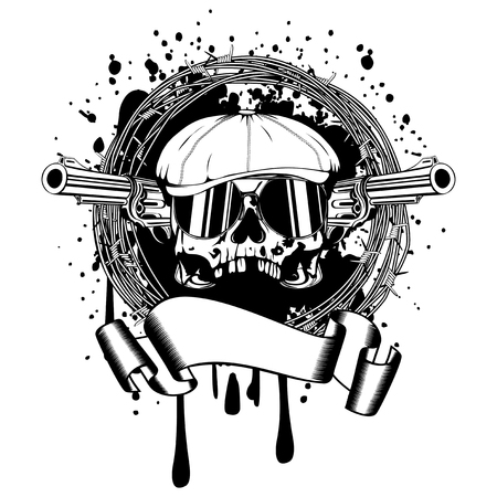 Vector illustration skull in cap with sunglasses and two revolvers and barbed wire.