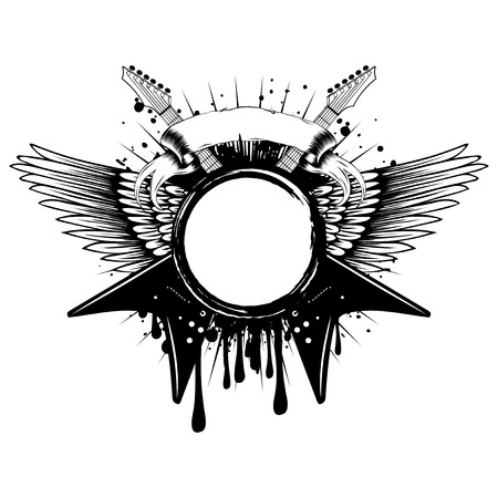 Vector illustration crossed guitars and wings on grunge background