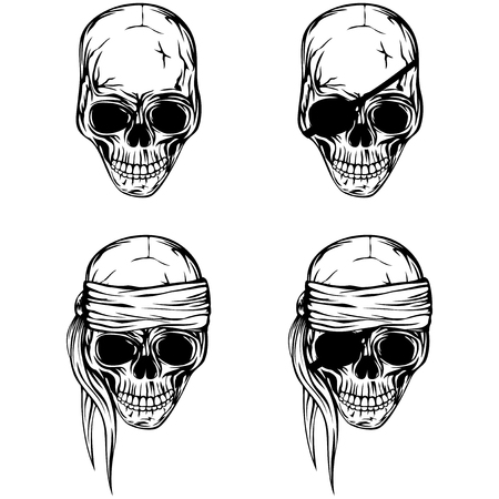 eyepatch: Vector illustration pirate skull set. Skull with a bandage on his head and without