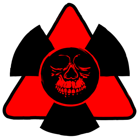 nuke: Abstract vector illustration red triangle radiation sign and grunge skull Illustration