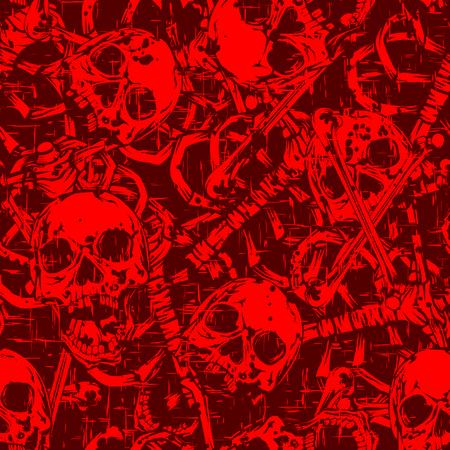 Resumen ilustración vectorial cráneos y huesos. Fondo inconsútil para la impresión en tela o camiseta. Ilustración de vector