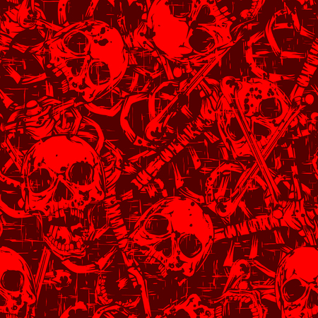 Abstract vector illustration skulls and bones. Seamless background for print on fabric or t-shirt.