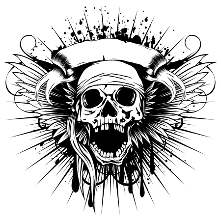 robbers: Vector illustration pirate skull with open jaw in bandana and wings on grunge background