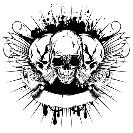 Vector illustration three skull and wings on grunge background with patterns