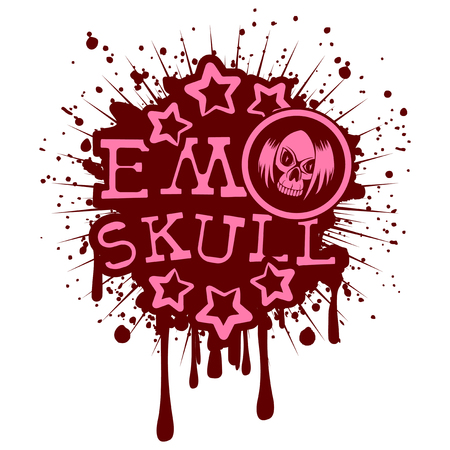Vector illustration pink inscription emo skull with stars on maroon grunge background and skull with hair. Design for print on t-shirt.
