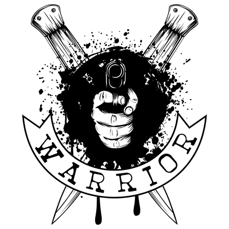 Vector illustration hand with pistol on crossed daggers and grunge background. Inscription warrior. For tattoo or t-shirt design.