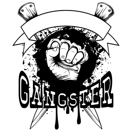 Vector illustration hand with brass knuckle on crossed knifes and grunge background. Inscription gangster. For tattoo or t-shirt design.