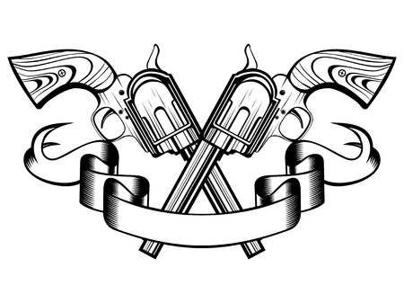 Vector illustration two crossed revolvers and banner. For tattoo or t-shirt design. Illustration