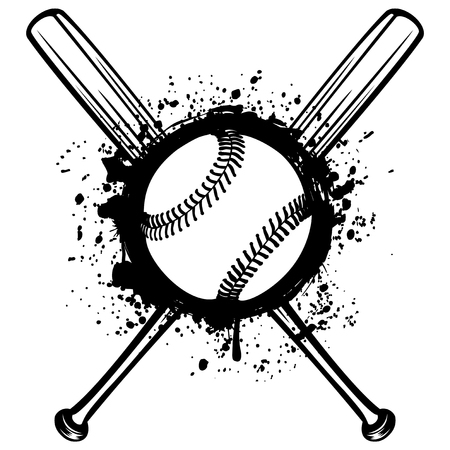 Vector illustration crossed baseball bats and ball on grunge background. For tattoo or t-shirt design. Illustration