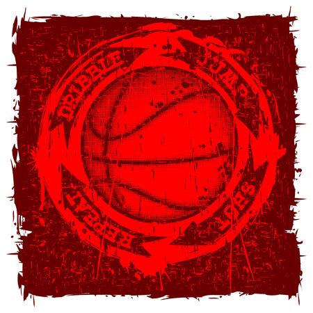 baller: Vector illustration inscription basketball dribble jump shot with basketball ball on grunge background for t-shirt design